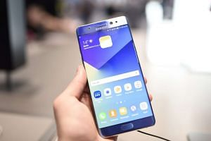 A Samsung Galaxy Note7 being held at the IFA trade fair in Berlin.