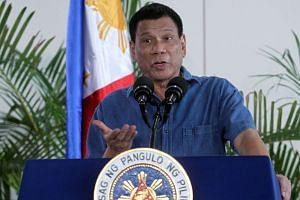 Philippine President Rodrigo Duterte speaking before leaving for Brunei, in Davao on Oct 16, 2016.