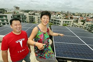 Mrs Pho Hong Ling, 61, and her son Robin on the rooftop of her penthouse condominium in Bukit Timah where 20 solar panels have been installed, generating about 20 kilowatt hours of energy a day. Mr Pho estimates this will help cut about half of the m