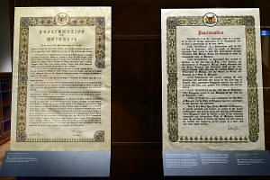 Printed on paper and parchment, with gold leaf accents and motifs such as brightly coloured orchids and hibiscuses - the documents proclaiming Singapore's merger with Malaya embodied the hope in the air in 1963.