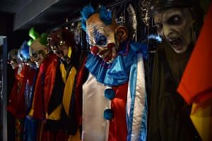 Clown costumes are displayed for sale at a store in Mexico City on October 17, 2016.