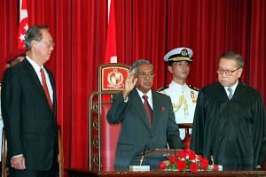 S R Nathan, during the swearing-in ceremony in the State Room at the Istana in 1999.