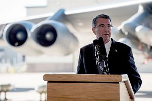 Secretary of Defense Ash Carter speaking to troops at Minot Air Force Base in North Dakota on Sept 26, 2016.
