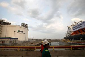 The gas storage tank at the Singapore Liquefied Natural Gas Terminal on Jurong Island.