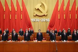 Chinese President Xi Jinping (centre) and other senior leaders attending a gathering to commemorate the 80th anniversary of the victory of the Long March at the Great Hall of the People in Beijing last Friday.