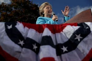 Democratic presidential nominee former Secretary of State Hillary Clinton speaks during a campaign rally at Saint Anselm College on Oct 24, 2016 in Manchester, New Hampshire.