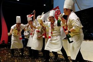 Singapore's gold award-winning Culinary Olympics team: (From left) Team captain Teo Yeow Siang, Triston Fang, Alan Wong, team manager Louis Tay, Roy Lim and Alex Chong.