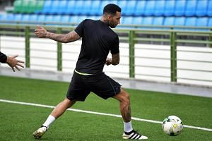 Jermaine Pennant during a training session, the former Arsenal and Liverpool winger has confirmed that he is leaving Tampines Rovers.