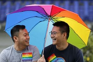 Supporters of the LGBT (lesbian, gay, bisexual, and transgender) community take part in the 14th annual LGBT Pride march in Taipei on Oct 29, 2016.