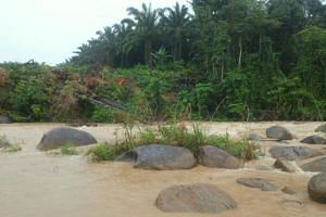 The Tesong River water level had risen due to heavy rain on Saturday.