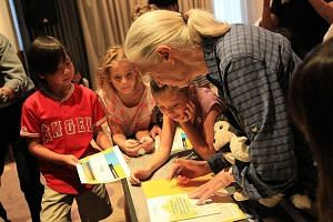 Dr Goodall meeting children during her visit to Malaysia. She has spent the past few years travelling to meet youngsters worldwide under her youth advocacy programme, raising awareness about conservation.