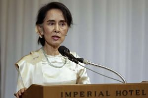 Myanmar's State Counsellor and Foreign Minister Aung San Suu Kyi speaks during a forum in Tokyo on Nov 4, 2016.