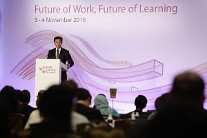 Education Minister (Higher Education and Skills) Ong Ye Kung speaking at the Adult Learning Symposium on Nov 3, 2016.