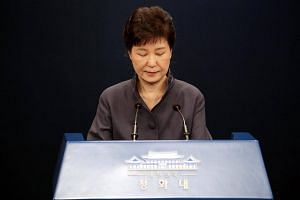 South Korean President Park Geun Hye makes a public apology over the leak of confidential documents on Oct 25, 2016.