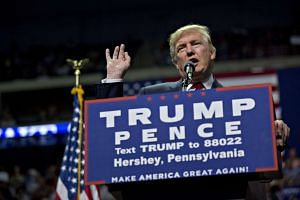 Donald Trump speaks during a campaign rally in Hershey, Pennsylvania on Nov 4, 2016.