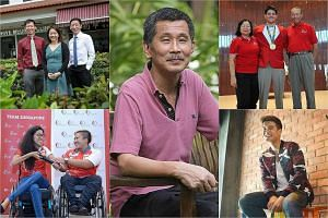 Clockwise from top left: Doctors Chi Wei Ming, Tan May Yen and  Lim Chien Chuan; security officer Peter Lim Kok Seng; Olympic gold medallist Joseph Schooling with his parents May and Colin; singer Nathan Hartono and Paralympic swimmers Yip Pin Xiu an