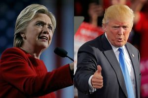 Hillary Clinton (left) and Donald Trump raced through several battleground states in a last-ditch attempt to encourage their supporters to show up and vote on Tuesday (Nov 7).