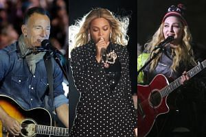 Musicians (from left) Bruce Springsteen, Beyonce and Madonna are rallying behind Hillary Clinton in the countdown to the Nov 8 election.