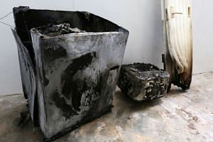 A Samsung washing machine caught fire at a unit in Block 469 Segar Road on Wednesday (Nov 9).