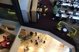 A top-down view of Google's new office at Mapletree Business City II.