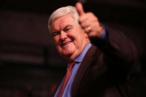 Former Speaker of the House Newt Gingrich giving a thumbs up after speaking before the arrival of Republican presidential candidate Donald Trump during a campaign rally at the Germain Arena, on Sept 19, 2016, in Estero, Florida.