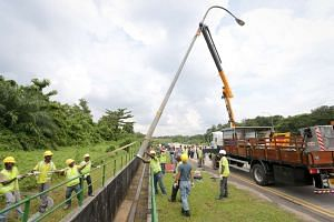 A lamp post being removed along Lim Chu Kang Road. A total of 153 lamp posts, 14 traffic lights, 58 road signs, 12 bus stops, 1.2km of guard rails and 1 speed camera are removed for the exercise on Nov 11, 2016.