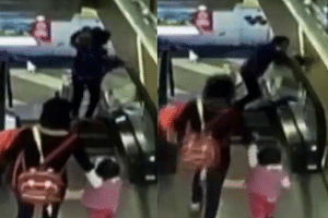 A four-month-old baby boy fell from an escalator on the third storey of a Shanghai shopping mall on Friday (Nov 11), and is currently in critical condition.