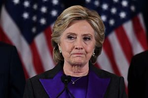 US Democratic presidential candidate Hillary Clinton makes a concession speech after being defeated by Republican president-elect Donald Trump in New York on Nov 9, 2016.