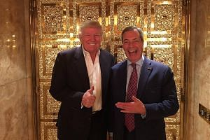 Nigel Farage poses with Donald Trump after their meeting at Trump Tower.