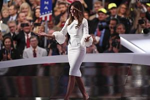 Mrs Melania Trump at the Republican National Convention in Ohio in a Roksanda Ilincic outfit she picked from Net-a-porter's bridal range. Though she drew controversy after similarities were noted between her speech and that of Mrs Michelle Obama's address