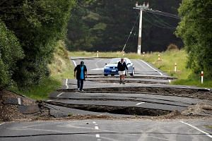 Local residents Chris and Viv Young look at damage caused by an earthquake along State Highway One near the town of Ward, south of Blenheim on New Zealand's South Island, on Nov 14, 2016.