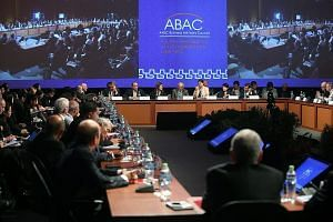 A meeting of the Apec Business Advisory Council in Lima, Peru, on Monday. PM Lee, who is arriving in the country today for a five-day trip, will attend the Apec Economic Leaders' Meeting, hold bilateral meetings with other leaders and take part in a