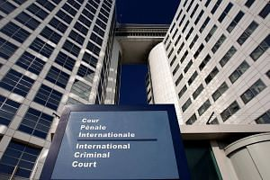 The entrance of the International Criminal Court (ICC) is seen in The Hague, Netherlands.