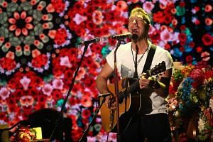 British musician Chris Martin of Coldplay performs during a live appearance in Milan, Italy, Nov 13, 2016.
