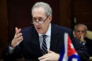 US Trade Representative Michael Froman meets with Cuba's Minister of Foreign Trade Rodrigo Malmierca (not pictured) in Havana, Cuba.