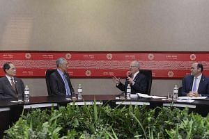 PM Lee Hsien Loong in a meeting with Peru President Pedro Pablo Kuczynski (second from right) during the Asia-Pacific Economic Cooperation (Apec) CEO Summit in Peru.