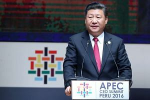 Xi Jinping speaks during a session as part of the Apec meeting  in Lima, Peru, Nov 19, 2016.