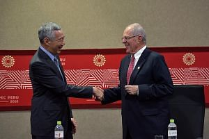 PM Lee meeting Mr Kuczynski in Peru on Friday. The two leaders affirmed Singapore-Peru ties.