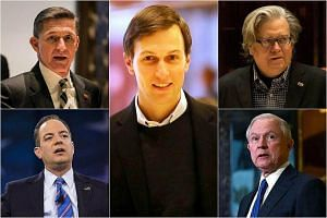 Clockwise from top left: Retired army lieutenant-general Michael Flynn, son-in-law Jared Kushner, chief White House strategist Stephen Bannon, Senator Jeff Sessions and Republican National Committee chairman Reince Priebus.