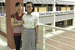 Wei Ling, with her mother, Madam Lau, likes the environment at Evergreen Secondary School. The Secondary 1 student finds the teachers caring too.