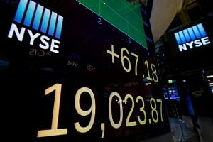 A screen shows the Dow Jones Industrial Average after the close of trading on the floor of the New York Stock Exchange.