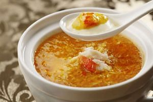 Foie Gras Chawanmushi with Crab Roe Soup, from Shisen Hanten at Mandarin Orchard Singapore.