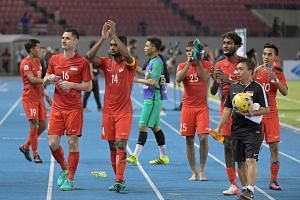Singapore players thanking their fans after their Asean Football Federation (AFF) Suzuki Cup Group A match against Thailand at the Philippine Sports Stadium in Bocaue on Nov 22, 2016.