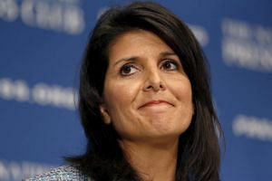 Nikki Haley speaks at the National Press Club in Washington, DC.