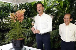 The first stop for Mr Rutte yesterday was the Singapore Botanic Gardens, where an orchid hybrid, Aranda Mark Rutte, was named in his honour. With him is National Parks Board deputy CEO Leong Chee Chiew.