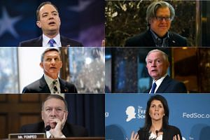 (From top left) Reince Priebus, Stephen Bannon, Lieutenant-General Michael Flynn, Jeff Sessions, Mike Pompeo and Nikki Haley have all been selected by US President-elect Donald Trump as key members of his team.