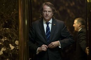 McGahn getting into an elevator in the lobby at Trump Tower, Nov 15, 2016 in New York City.