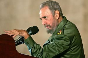 Then Cuban president Fidel Castro addressing the audience during a political rally in celebration of the 12th birthday of Cuban boy Elian Gonzalez in Cardenas, in this Dec 6, 2005, file photo.