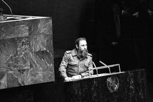 Then Cuban President Fidel Castro addresses the audience as president of the Non-Aligned Movement at the United Nations in New York on Oct 12, 1979.
