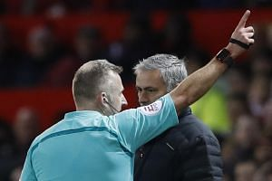 Jose Mourinho is sent to the stands by referee Jonathan Moss on Sunday.